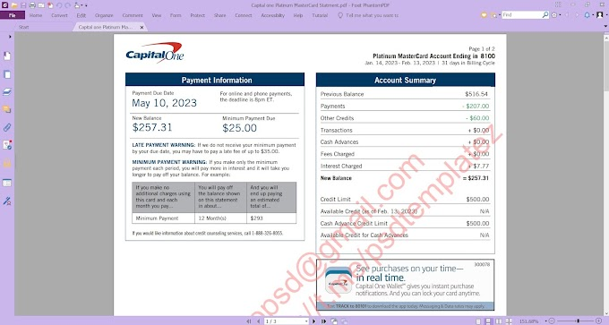 CAPITAL ONE PLATINUM MASTERCARD STATEMENT EDITABLE PDF TEMPLATE- 2 PAGES