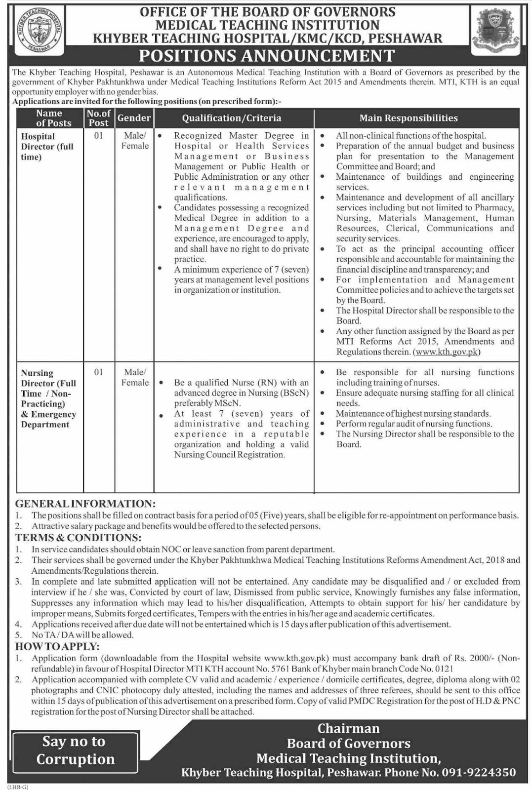 Advertisement for Khyber Teaching Hospital Jobs
