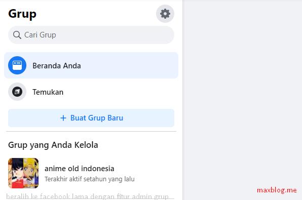 beralih ke facebook lama dengan fitur admin grup