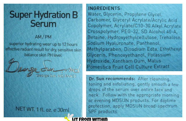 Super Hydration B Serum ingredients and directions