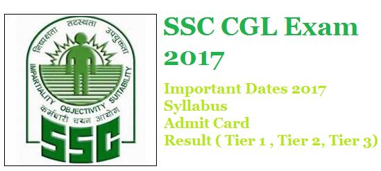 SSC CGL Exam 2017 :Important Dates 2017