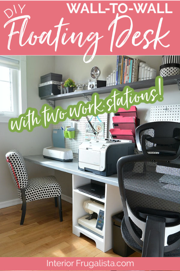 A space-saving wall-to-wall DIY wall mounted home office floating desk with two workstations. Perfect for small spaces and budget-friendly home office desk idea with step-by-step instructions. #homeofficespace #diydesk