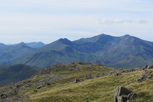 The main peaks of Snowdon - Yr Aran, Y Lliwedd, Snowdon and Garnedd Ugain.