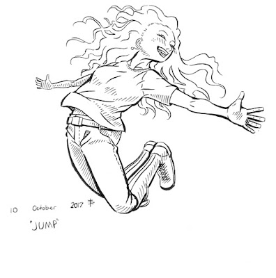 Final digitized image of the fully-inked jumping girl.