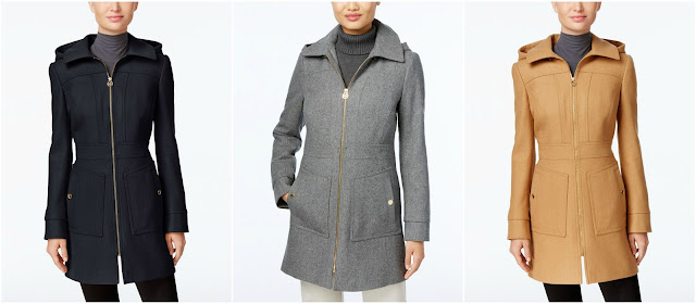 MICHAEL Michael Kors Hooded Wool-Blend Coat $106 (reg $275)
