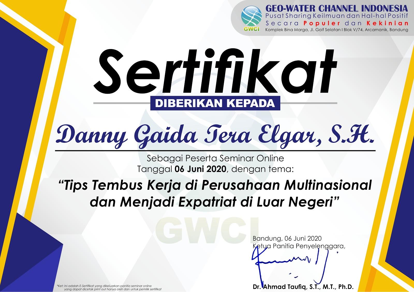 Sertifikat Geo-Water Channel Indonesia (GWCI) | Tips Tembus Kerja di Perusahaan Multinasional dan Menjadi Expatriat di Luar Negeri