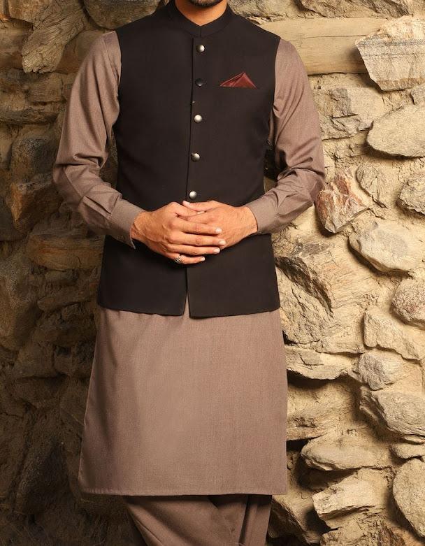 J. Junaid Jamshed charcoal waistcoat