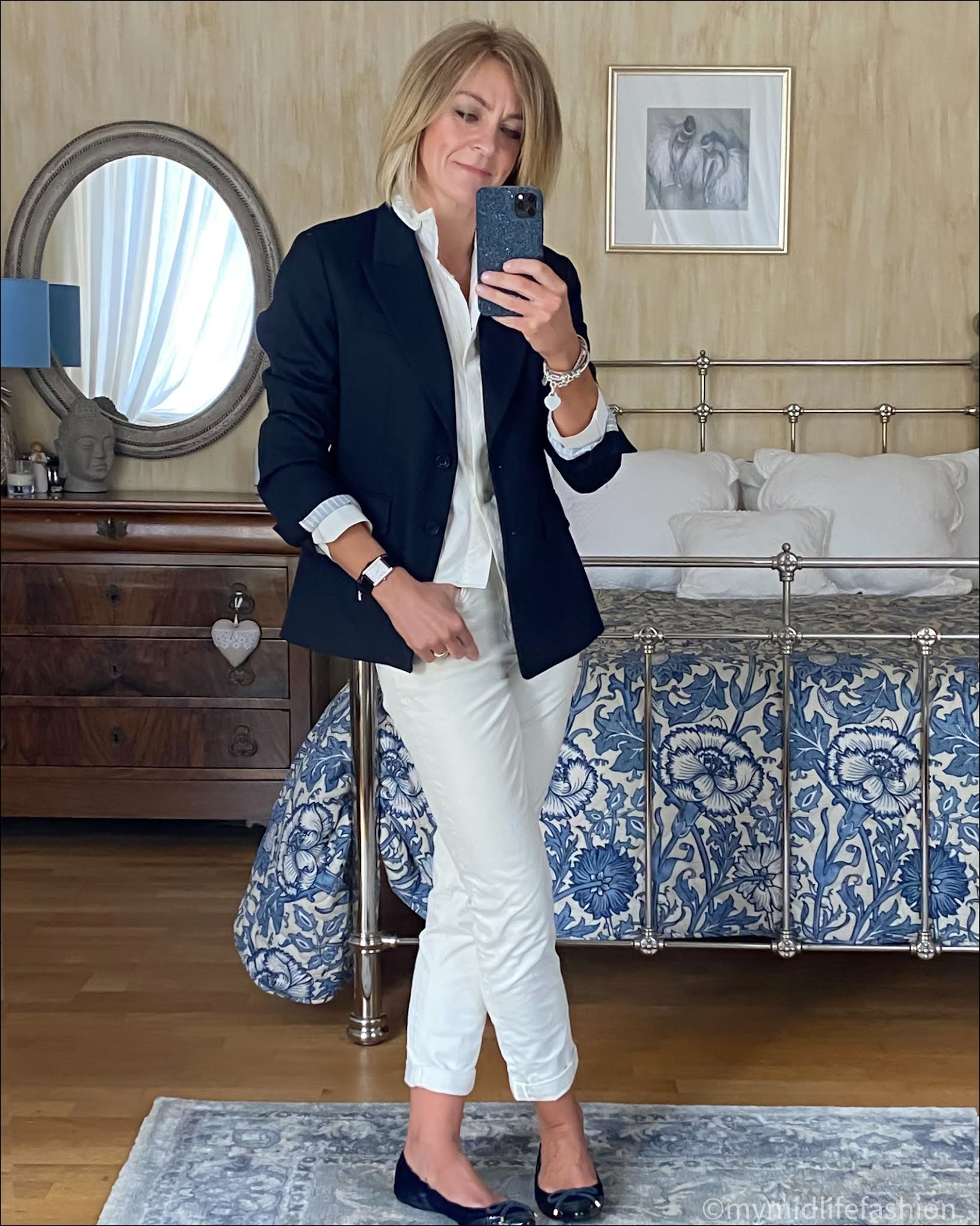 my midlife fashion, boden girlfriend jeans, Uniqlo blazer, zara frill collar blouse, Burberry ballet pumps
