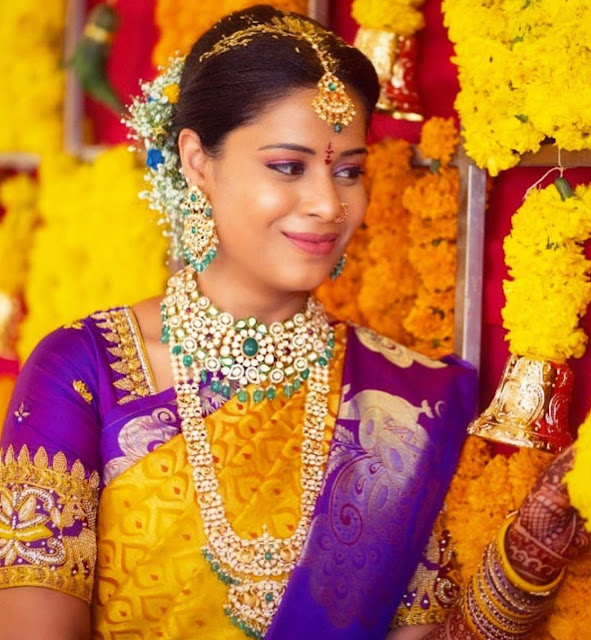 Bride in Pachi Long Chain