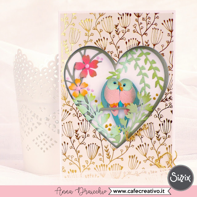 Card Biglietto di San Valentino con pappagalli innamorati