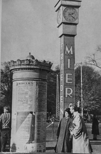 """1963 год. Рига. Название """"Лайма"""" на часах сменилось на надписи """"Мир"""" и """"Дружба"""" на нескольких языках"""