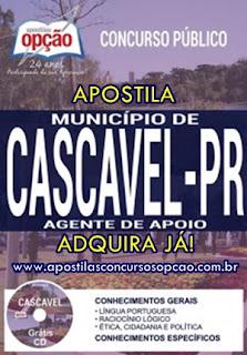 Apostila Agente de Apoio Concurso Município de Cascavel 2017