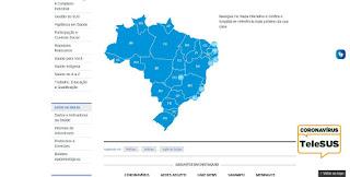 Mapa de hospitais  de referência para Covid-19 no Brasil