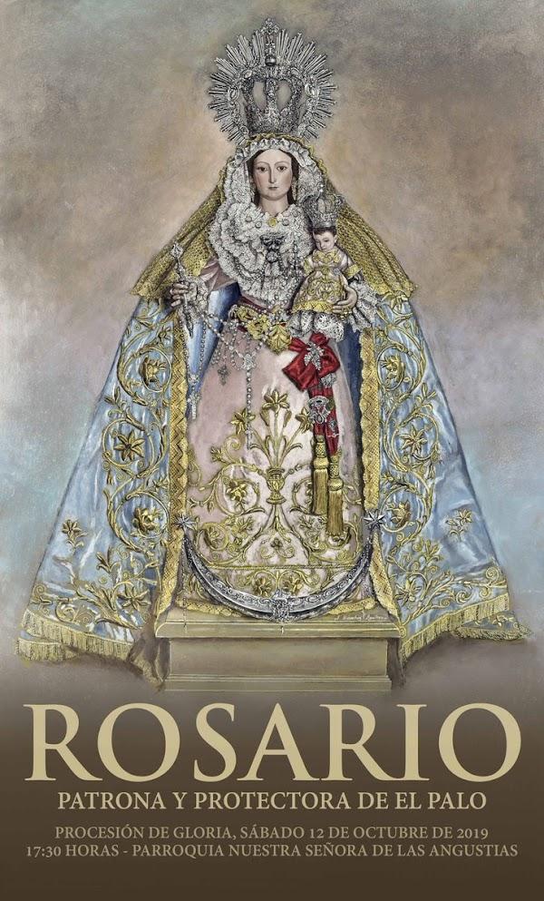Cartel anunciador de la procesión de Gloria de Ntra Sra del Rosario, Patrona y Protectora de El Palo