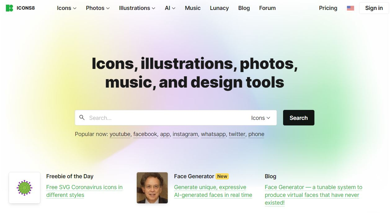 Icons8 is the place to go if you need free icons, images, UX graphics, or music for your video clips.