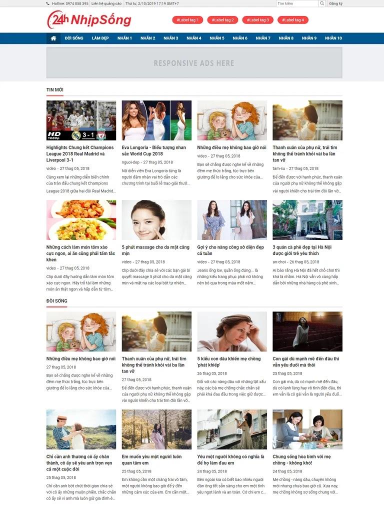 Template blogspot tin tức dạng lưới đẹp chuẩn seo 2018