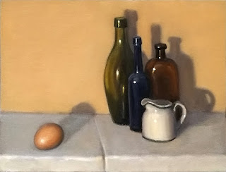 Still life oil painting of an egg a short distance from a group of antique bottles and a white porcelain jug.