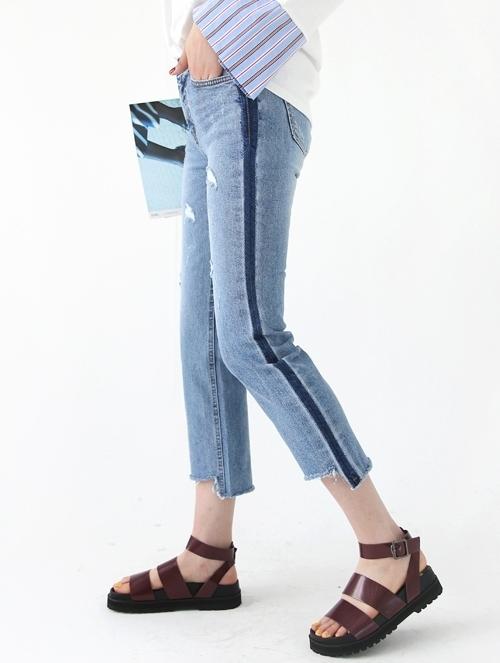 Distressed Contrast Stripe Detail Jeans
