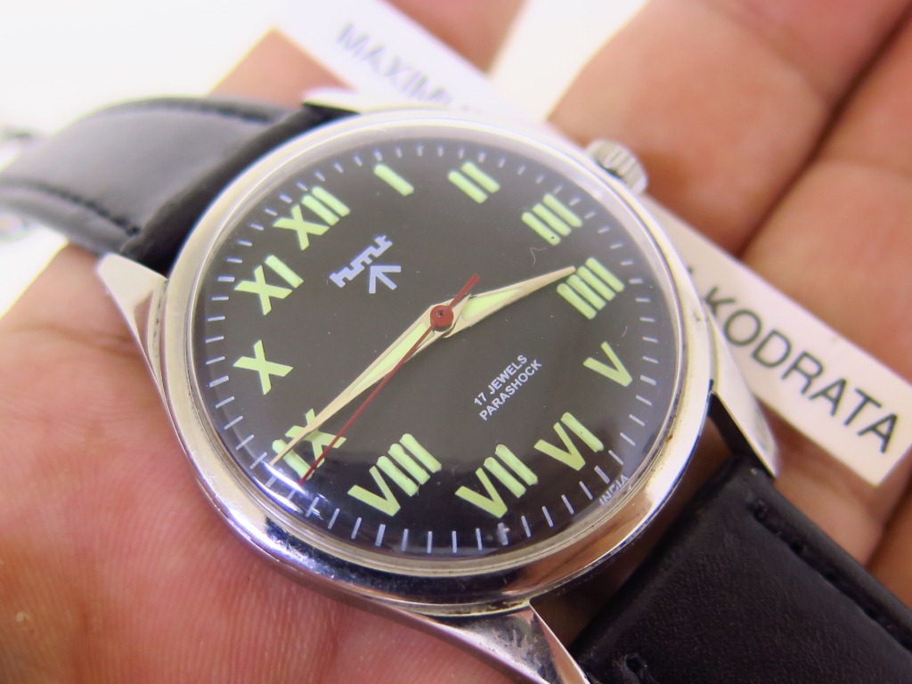 HMT MILITARY BLACK ROMAN DIAL - MANUAL WINDING