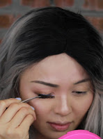 Glue the false lashes and put closely to the real lashes