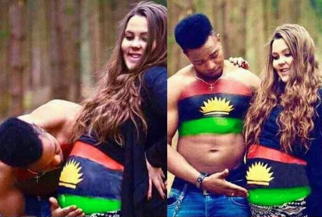 Check out the pre-maternity shoot of a hardcore Biafran supporter and oyibo wife