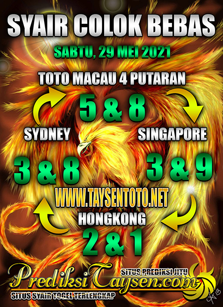 Prediksi Taysen Toto SGP Sabtu 29 Mei 2021