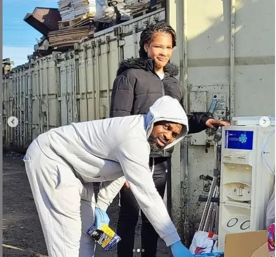 Social media users reacts as Laura Ikeji Husband was seen Picking from dustbin in UK (Photos)