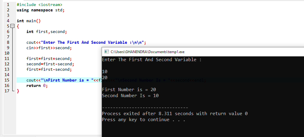 C++Program To Swap A Number Without Using Third Variable