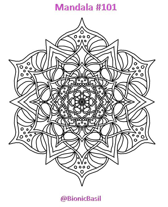 Mandalas on Monday ©BionicBasil® Colouring With Cats #101 Downloadable Image