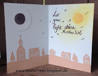 Geburtstagskarte Sonnenfinsternis lass dein licht leuchten matthäus eclipse 2017 mit Stampin' Up! Edgelits Winterstädtchen von Demonstratorin in Coburg