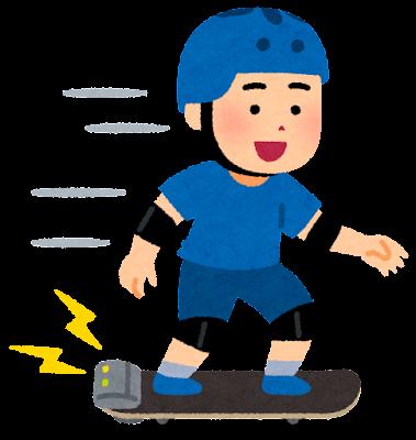 電動スケボーに乗る男の子のイラスト