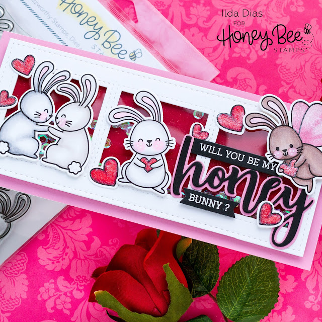 Honey Bunny, Valentine's Day Card, Slimline, Shaker Card, Honey Bee Stamps, Card Making, Stamping, Die Cutting, handmade card, ilovedoingallthingscrafty, Stamps, how to,