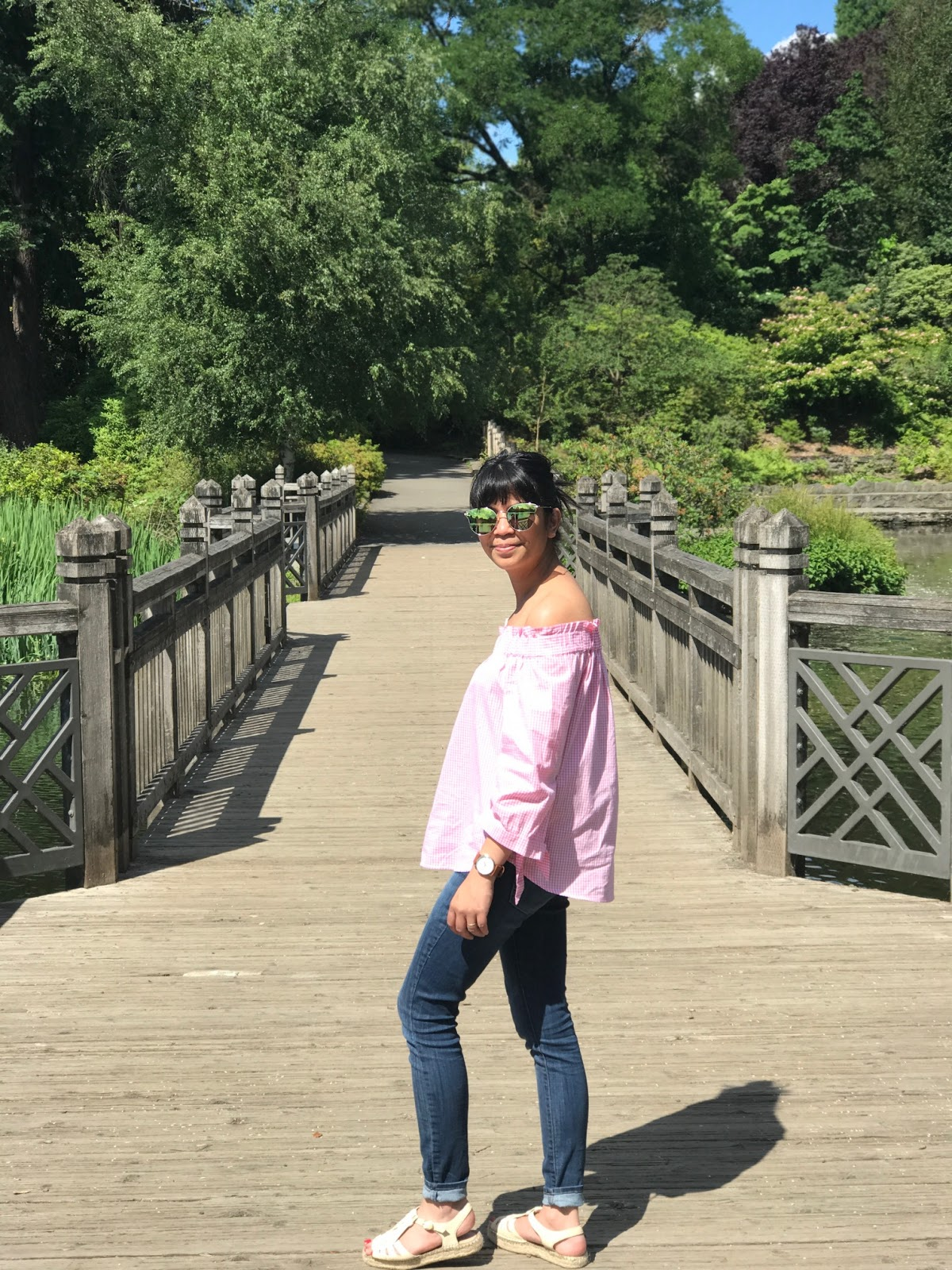 espadrilles, gingham top, jeans, minimal outfit, mom outfit, off the shoulder pink top, outfit of the day, portland blogger, summer outfit, sunglasses, the story of,