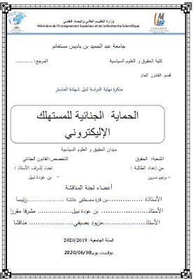 مذكرة ماستر: الحماية الجنائية للمستهلك الإلكتروني PDF