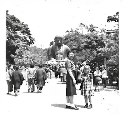 Natalie Vasilev and her daughter, Lena, visiting the Great Buddha of Kamakura (大仏 Daibutsu) of Kōtoku-in 高徳院 sometime around 1951.