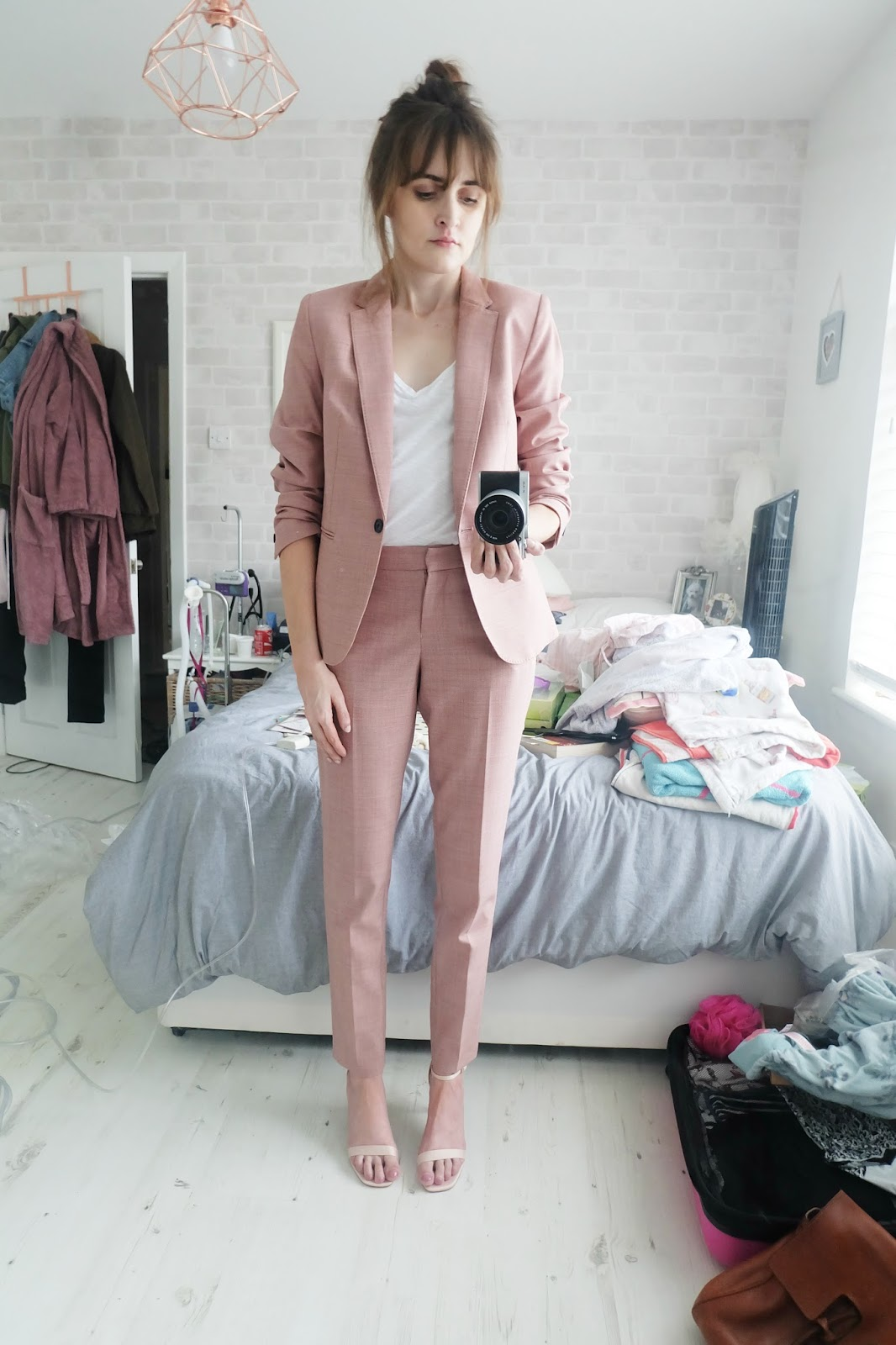 pink suit next, how to wear a pink suit, what to wear to a wedding if you don't like dresses, nude asos heyday heels, cystic fibrosis transplant blog uk