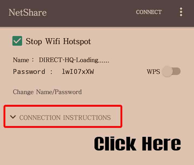 Then Click Connection instructions