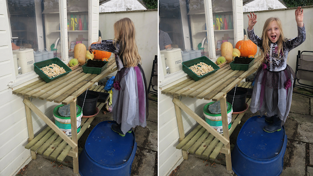 Lily the witch sowing pumpkin seeds