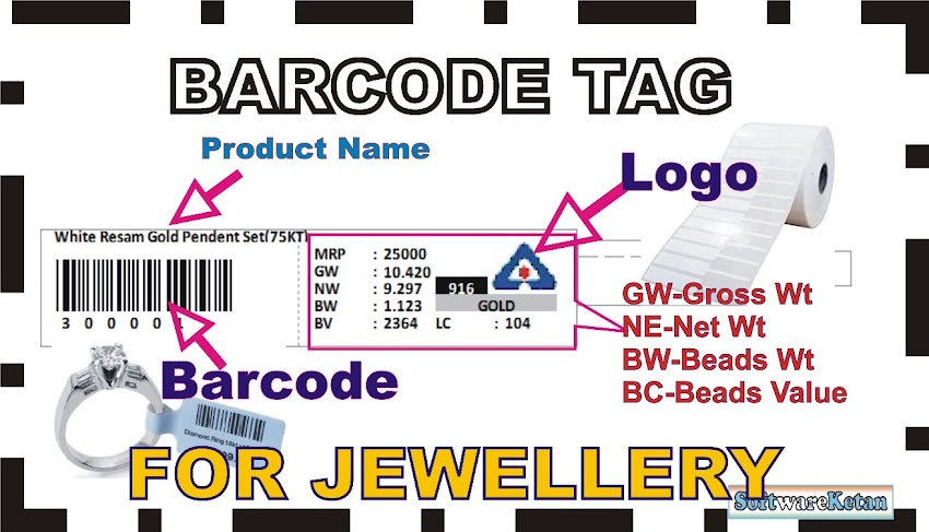 Jewellery Products Tag Barcode Label Template