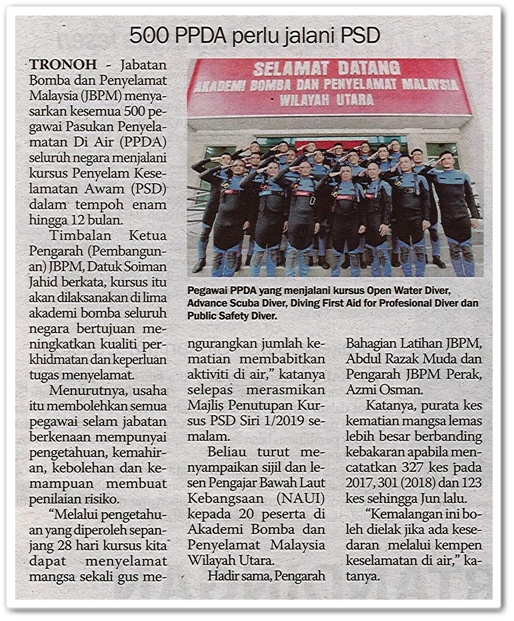 500 PPDA perlu jalani PSD - Keratan akhbar Sinar Harian 3 Ogos 2019