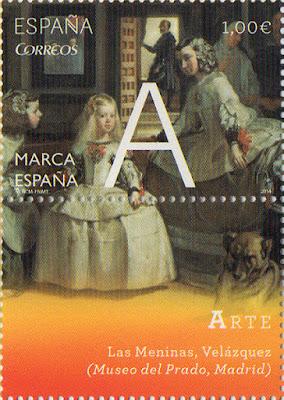 Sello del Pliego Premium dedicado a la A de la Marca España con Las Meninas de Velázquez