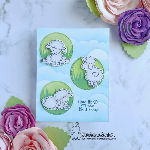 Sheep Birthday card by Farhana Sarker | Baa Stamp Set, Clouds Stencil, Hills & Grass Stencil and Circle Frames Die Set by Newton's Nook Designs #newtonsnook #handmade