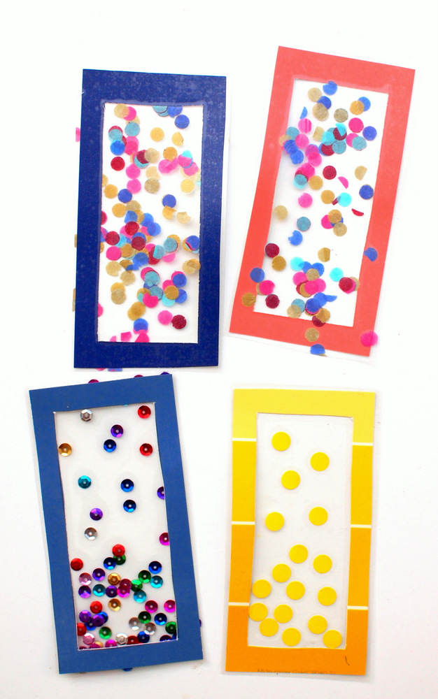 let's make some confetti bookmarks with kids!  super great way to celebrate the start of the new school year!