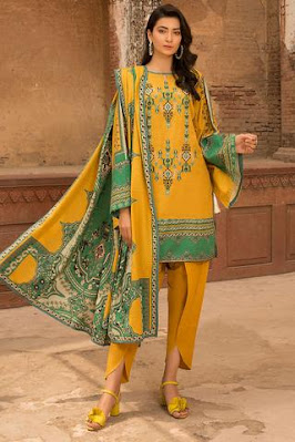 warda yellow color 3 PC suit winter unstitched collection
