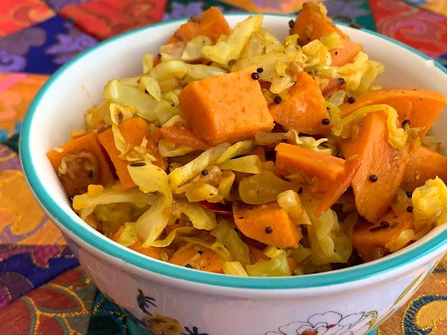 Cabbage & Sweet Potato Sabzi
