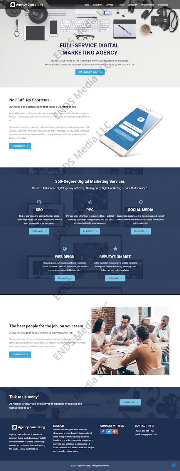 ENDS Media Consulting, Agency, SaaS Website Design Portfolio