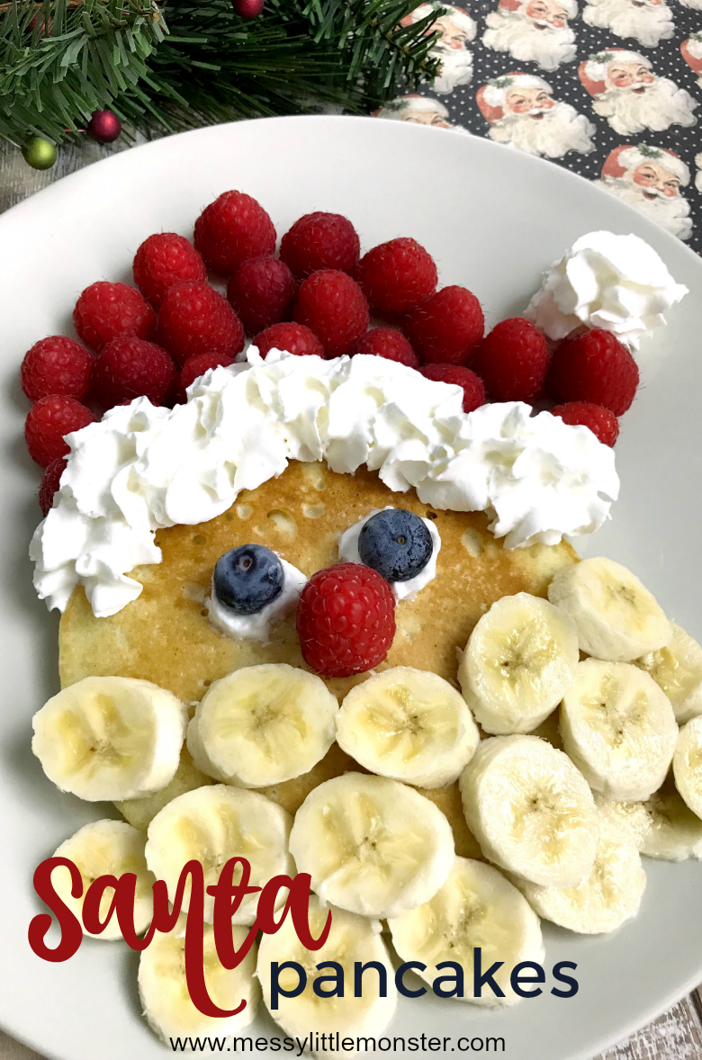 Santa pancakes recipe. Fun Christmas pancakes for Christmas morning breakfast