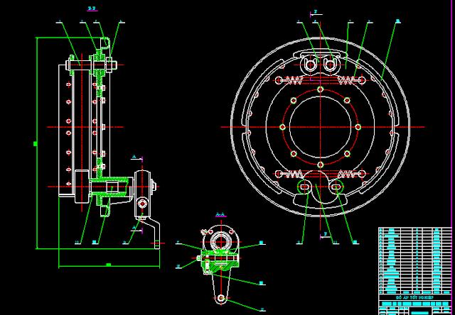 Bản vẽ hệ thống phanh guốc xe tải