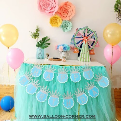Bunting Banner HAPPY BIRTHDAY Bentuk Mahkota Silver