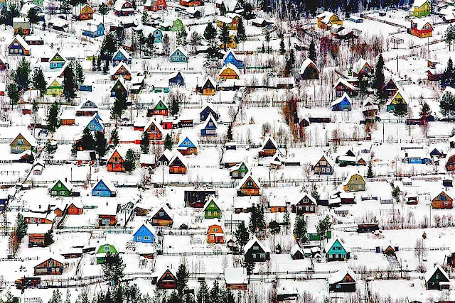 somewhere in Russia, a birds-eye view of colorful houses